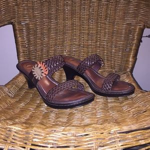 Nurture Brown Weave Leather slip on Sandals Size 7